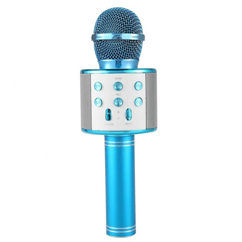 Bluetooth Wireless Microphone Handheld Karaoke Mic USB KTV Player Bluetooth Speaker Record Music Microphones  blue