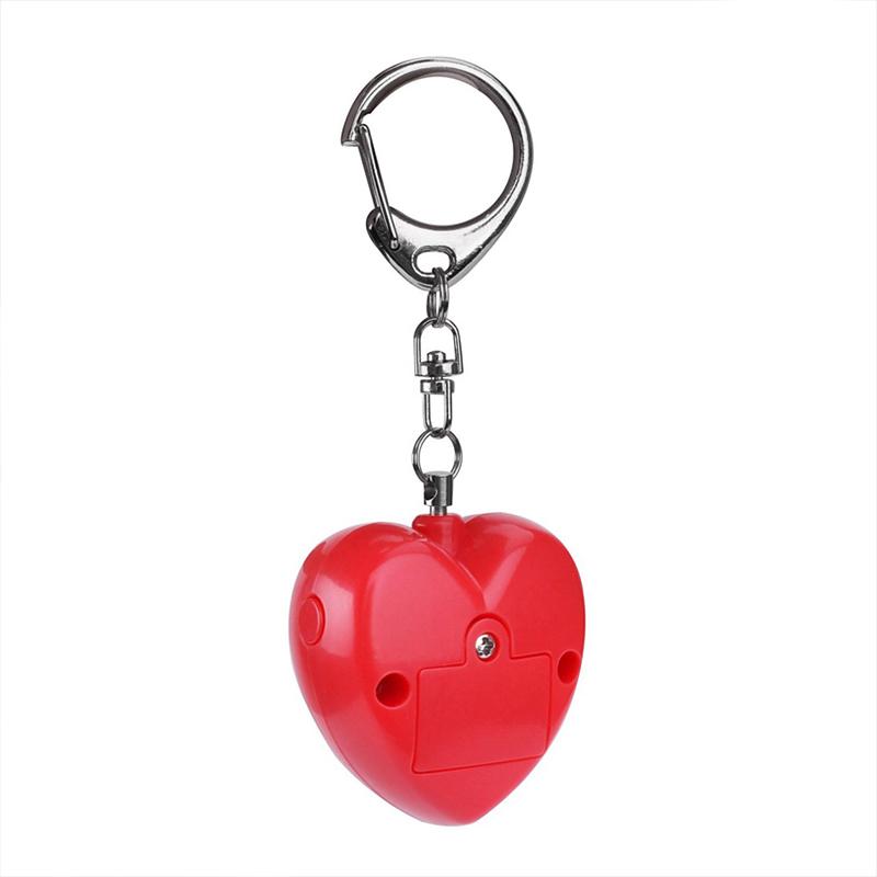 Personal Anti-attack Security Panic Loud Alarm Emergency Keychain Self Defense Heart Shape Women Alarm red