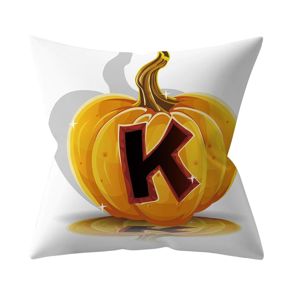 Halloween Series Letter Printing Throw Pillow Cover for Home Living Room Sofa Decor K_45*45cm
