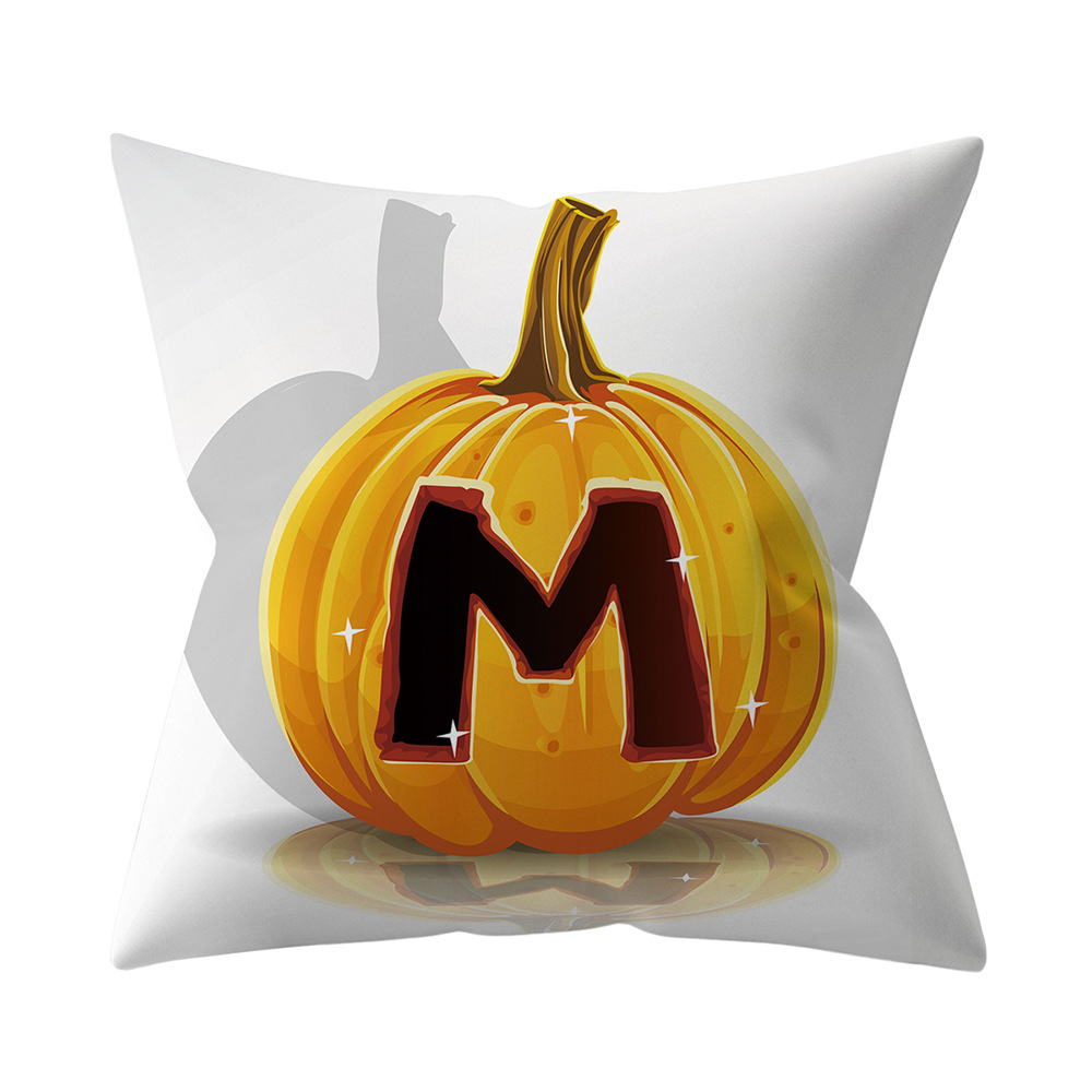Halloween Series Letter Printing Throw Pillow Cover for Home Living Room Sofa Decor M_45*45cm
