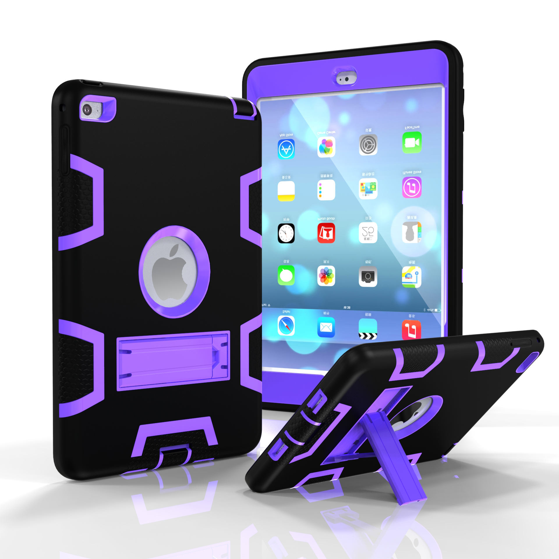 For IPAD MINI 4 PC+ Silicone Hit Color Armor Case Tri-proof Shockproof Dustproof Anti-fall Protective Cover  Black + purple