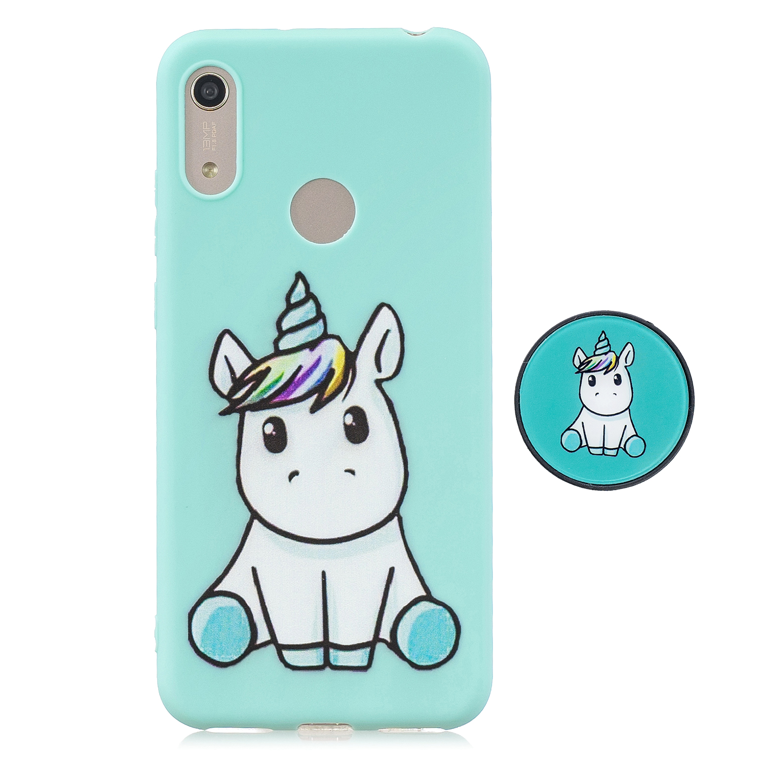 For HUAWEI Y6 2019 Flexible Stand Holder Case Soft TPU Full Cover Case Phone Cover Cute Phone Case 5