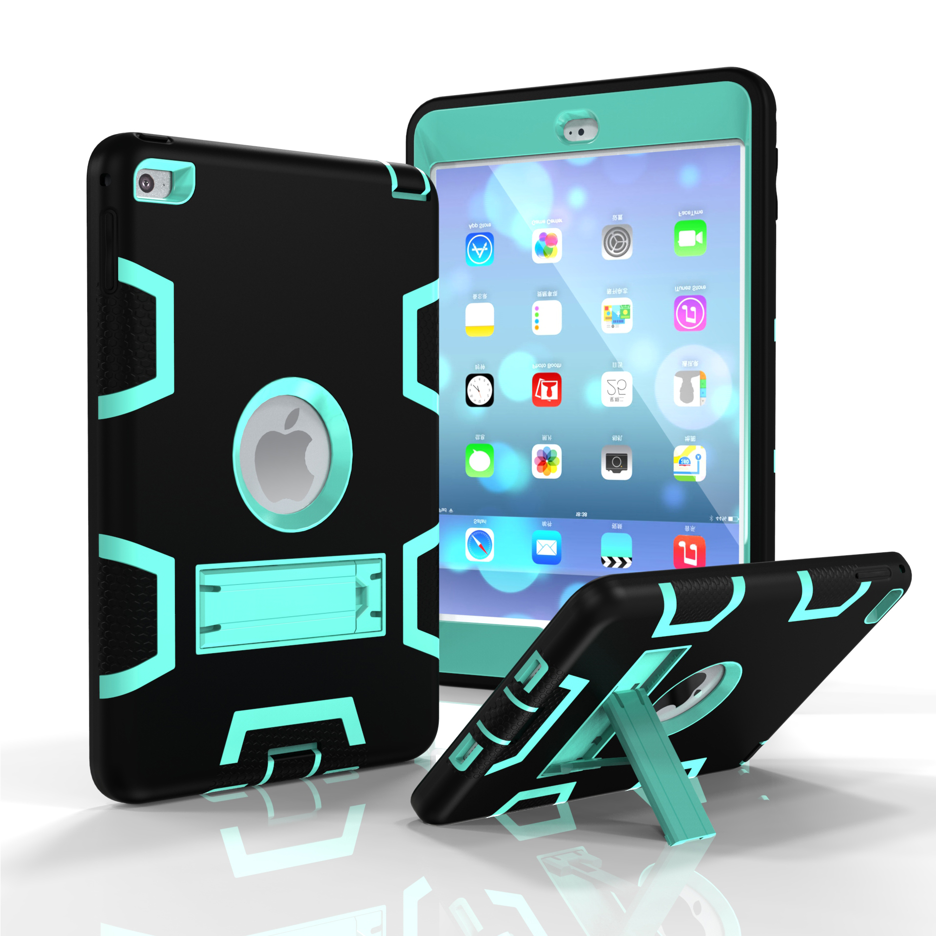 For IPAD MINI 4 PC+ Silicone Hit Color Armor Case Tri-proof Shockproof Dustproof Anti-fall Protective Cover  Black + mint green