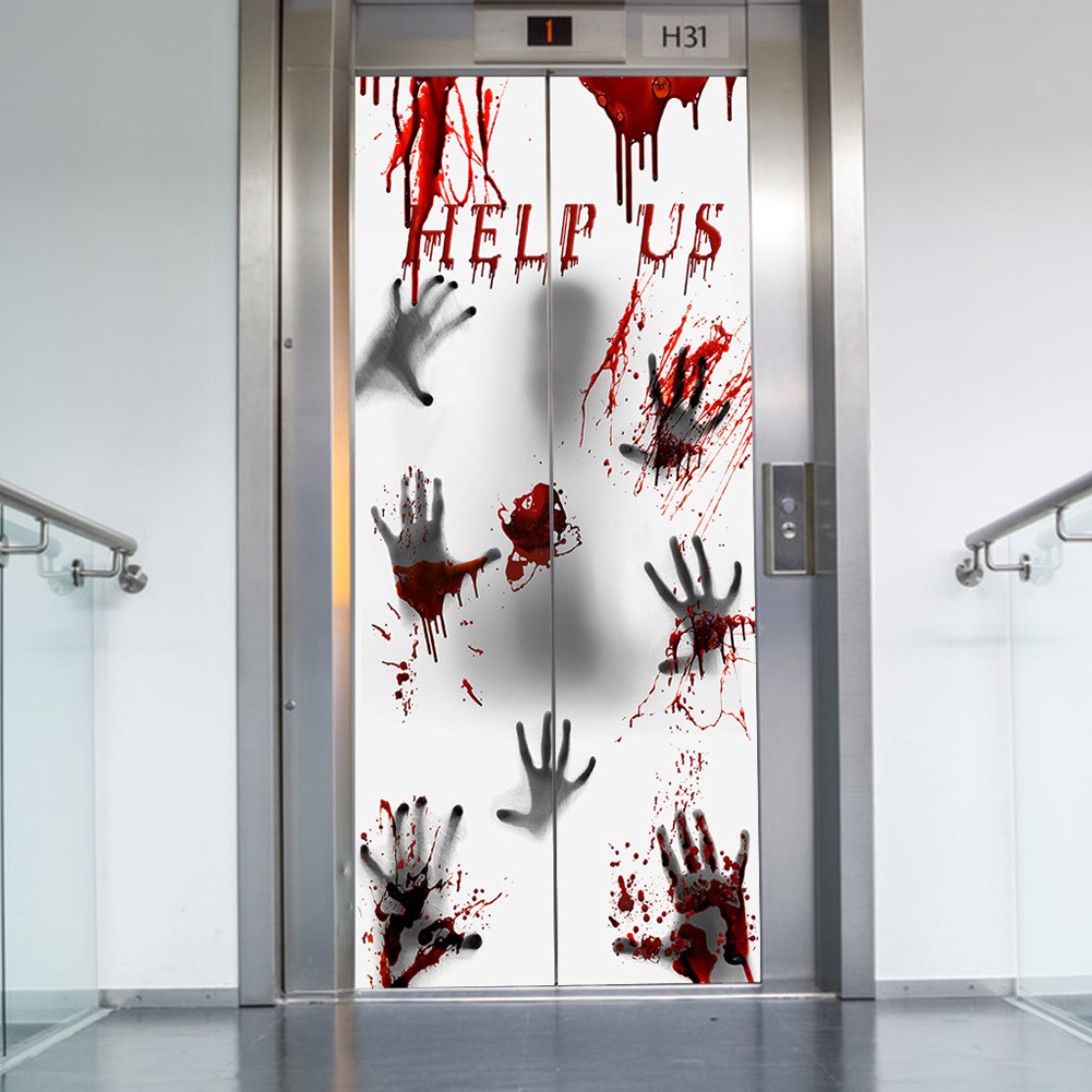 Help Us Window Door Sticker for Haunted House Decorations Scary Bloody Handprint Halloween Props  30x60inches