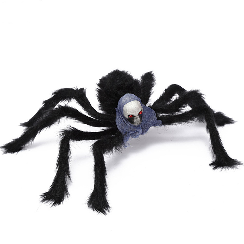 Simulate Plush Spider with Foam Skull Head Toy for Party Halloween Decoration Prop 75cm skull spider blue