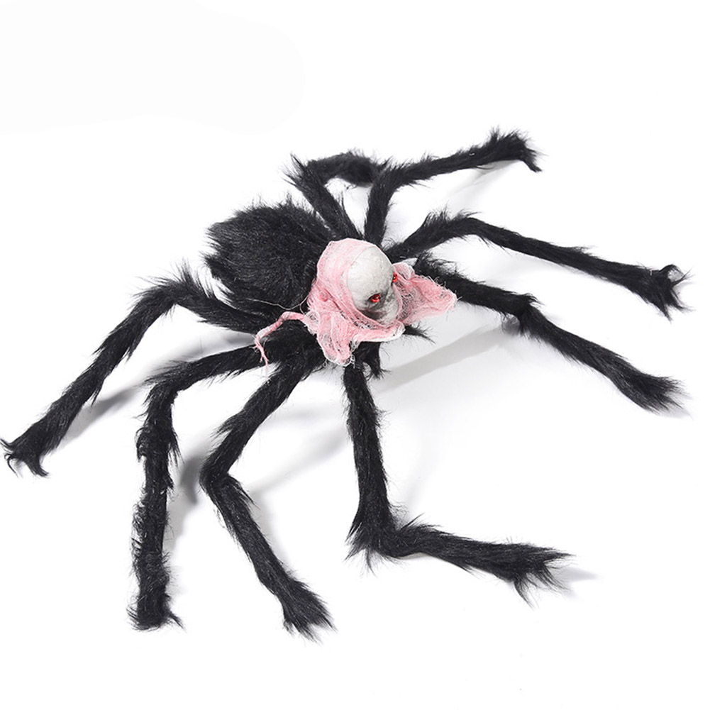 Simulate Plush Spider with Foam Skull Head Toy for Party Halloween Decoration Prop 75cm skull spider pink