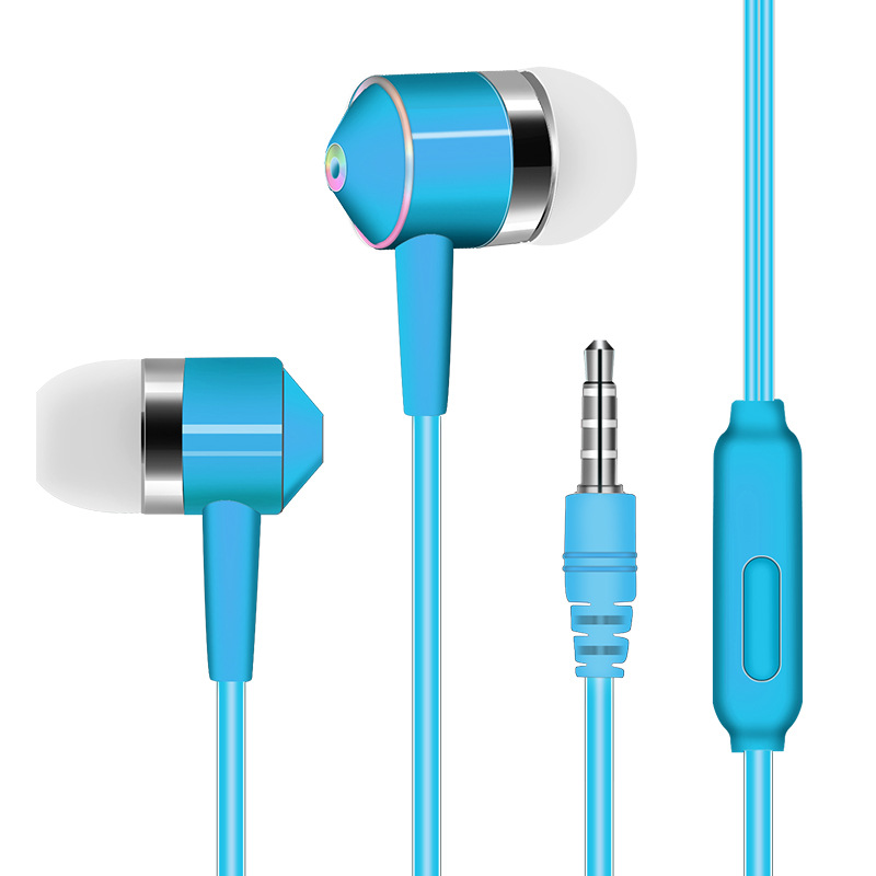 3.5mm Earphone In-ear Stereo 1.2m Wired Headset with Mic Compatibility Smartphones  blue