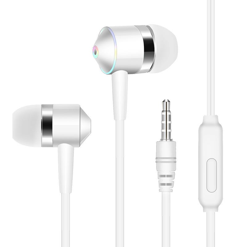 3.5mm Earphone In-ear Stereo 1.2m Wired Headset with Mic Compatibility Smartphones  white