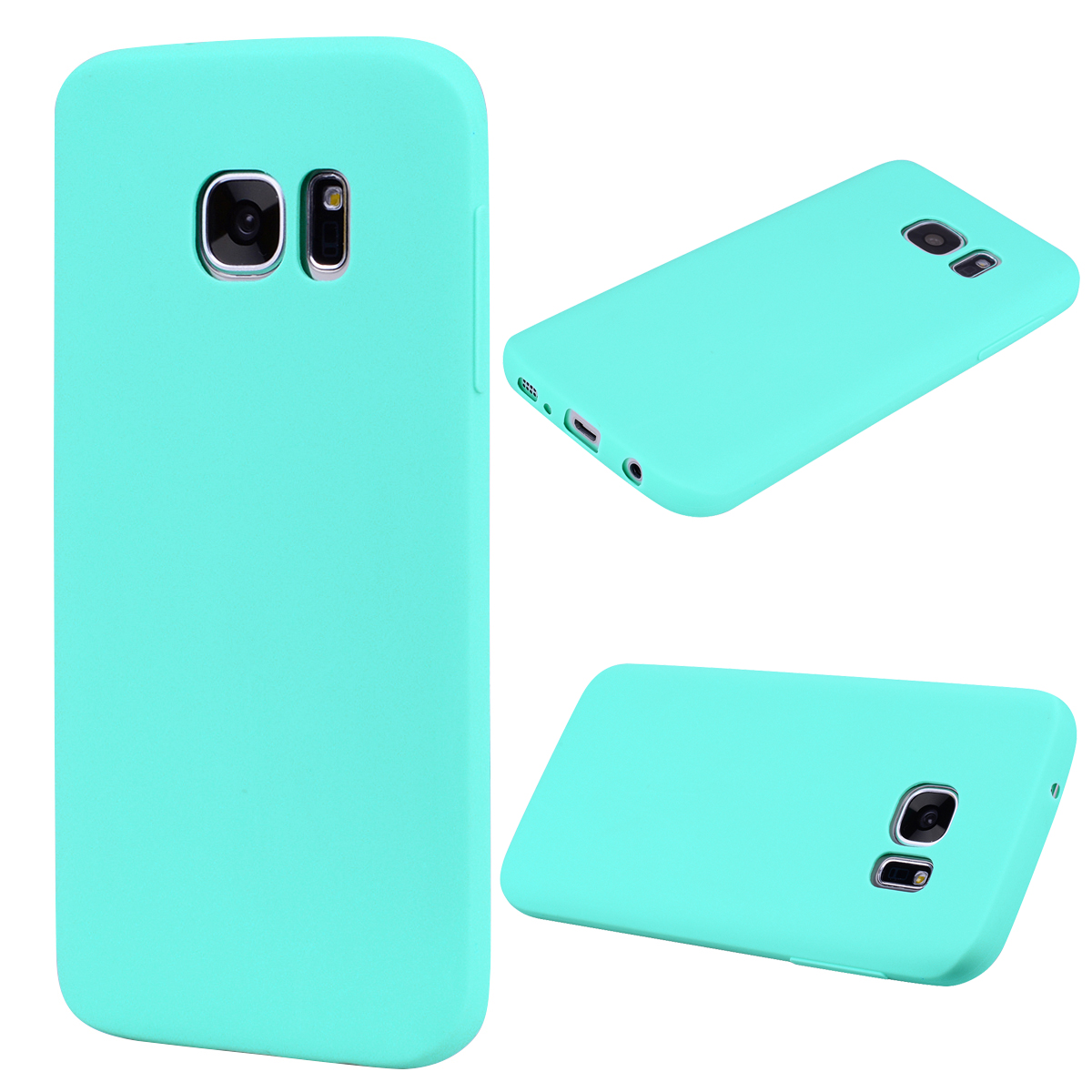 for Samsung S7 Cute Candy Color Matte TPU Anti-scratch Non-slip Protective Cover Back Case Light blue