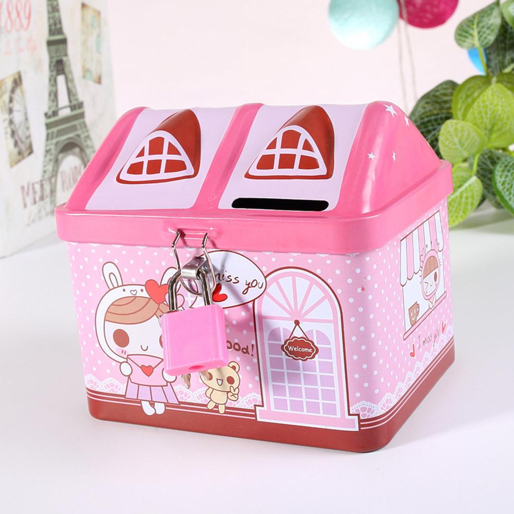 Cartoon Iron House Cute Piggy Bank Money Saving Box Tinplate Creative Coin Pot Gifts for Children 11.9 * 9.4 * 10.4cm