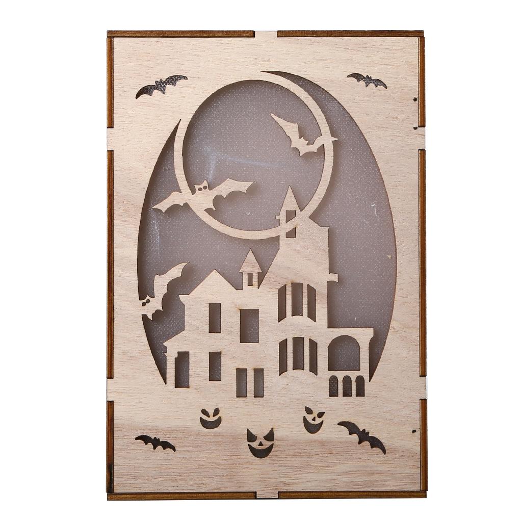 Wooden Hollow Hanging Pendant Pumpkin Haunted House LED Lights 3D Halloween Party Decoration Crafts JM01505