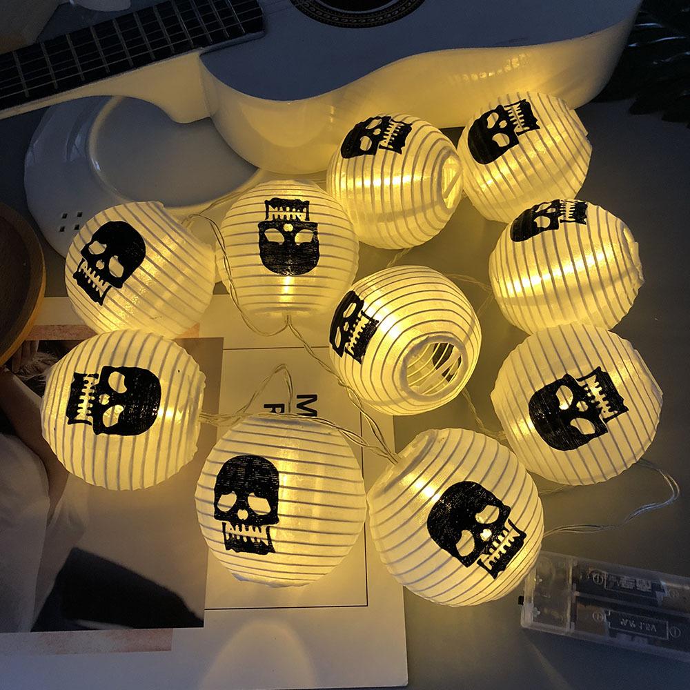 10LEDs Halloween Lantern String Light for Ghost Festival Background Decoration Lamp Warm White