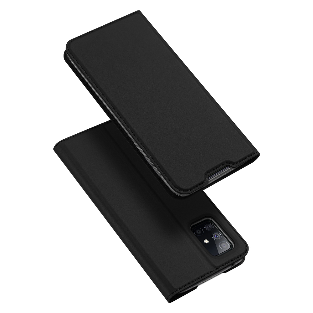 DUX DUCIS for Samsung A21s/A51 5G Magnetic Protective Case Bracket with Card Slot Leather Mobile Phone Cover black