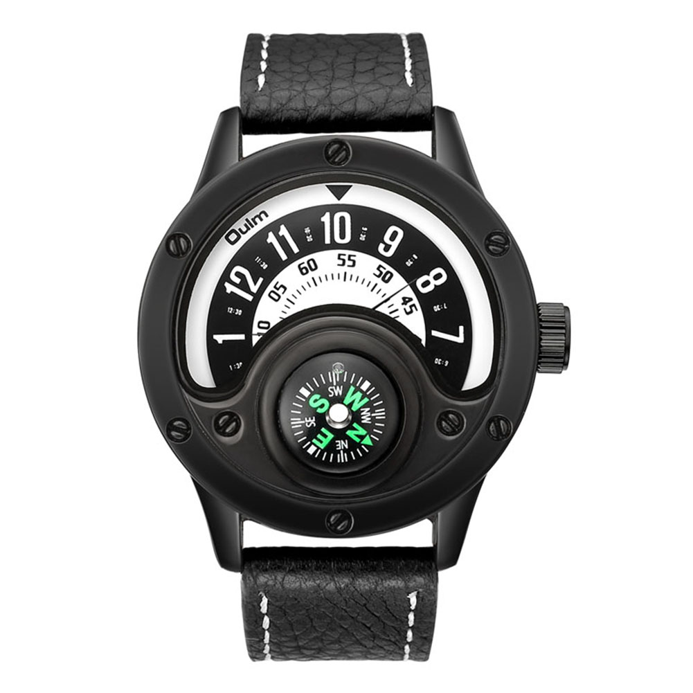 Oulm HP3880 Men Quartz Sports Watch Black