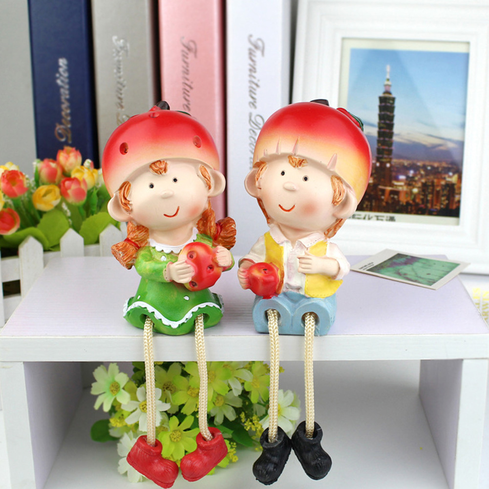 2Pcs Cute Hanging Foot Doll Resin Toy Desktop Crafts Home Decoration A pair of ornaments