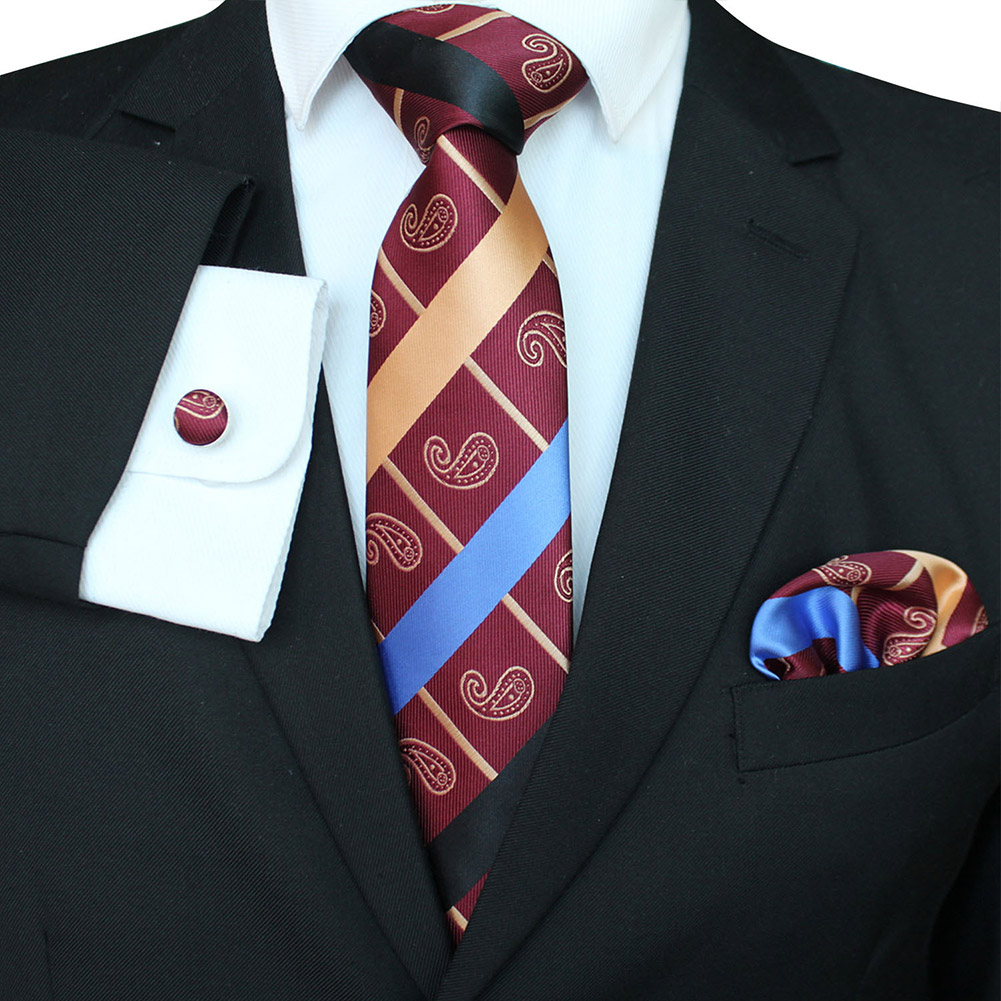Men Business Classic Polyester Silk Tie Necktie Set Necktie + Kerchief + Cuff-link Set #-3