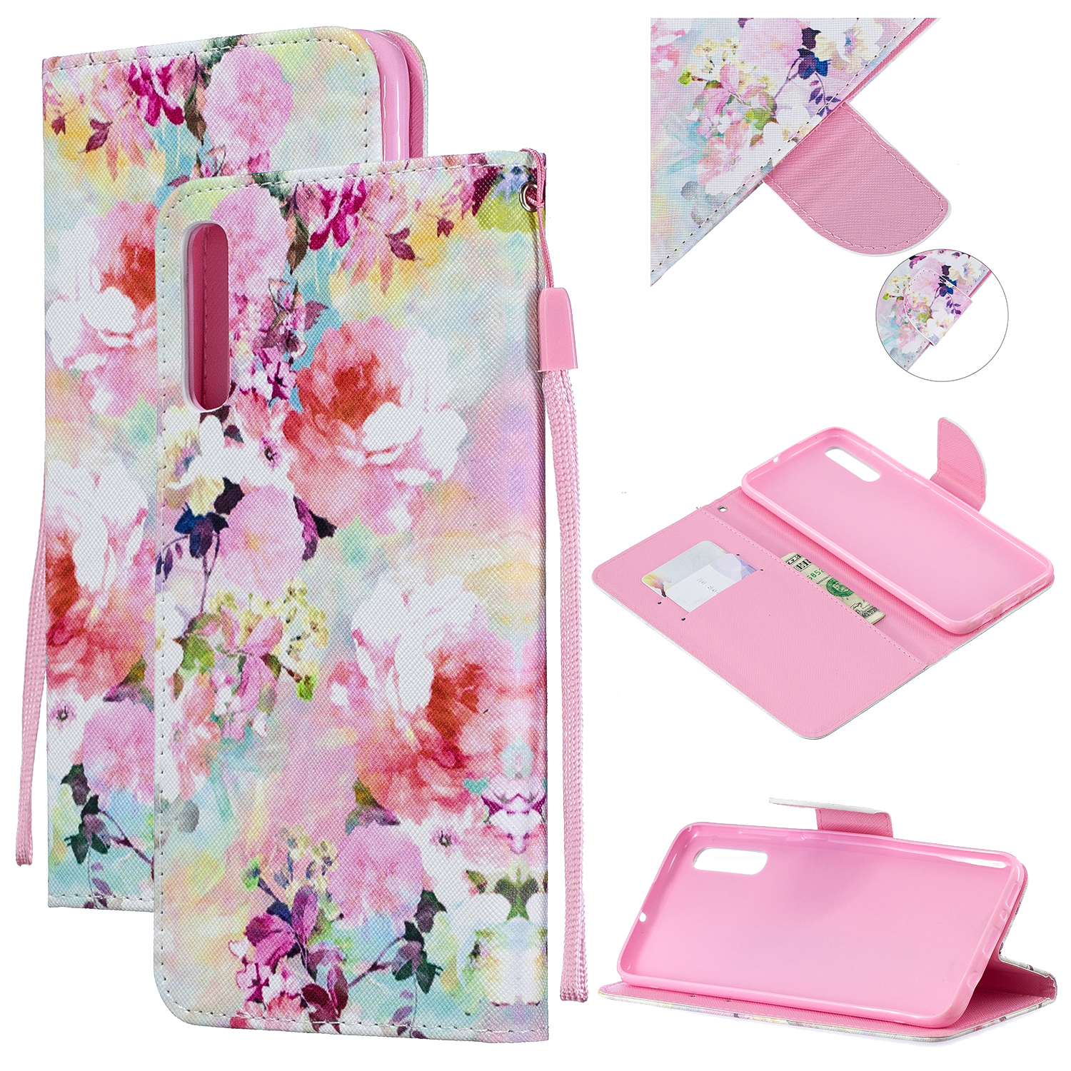 For Samsung A50/A70 Smartphone Case Overall Protective Phone Shell Lovely PU Leather Cellphone Cover with Card Slots  Watercolor flower