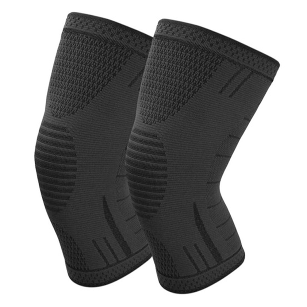 Non Slip Silicone Sports Knee Pads Support for Running Cycling Basketball black_L