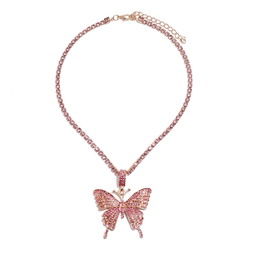2 Pcs/set Women's Necklace Ins Style Butterfly-shape Diamond-mounted Double-deck Necklace Pink set