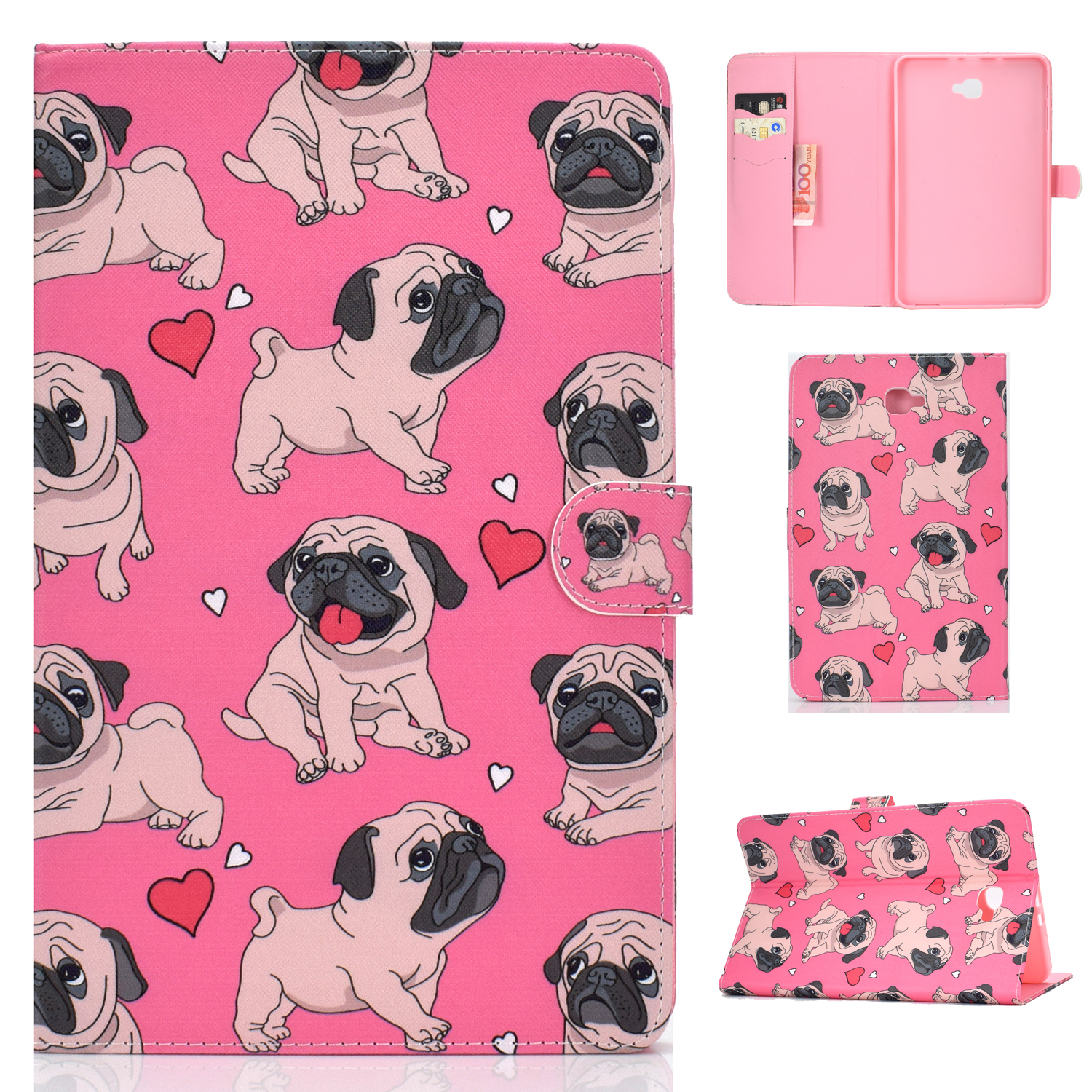 For Samsung T580 PU Laptop Protective Case with Front Snap Color Painted Smart Stay Cover  Caring dog