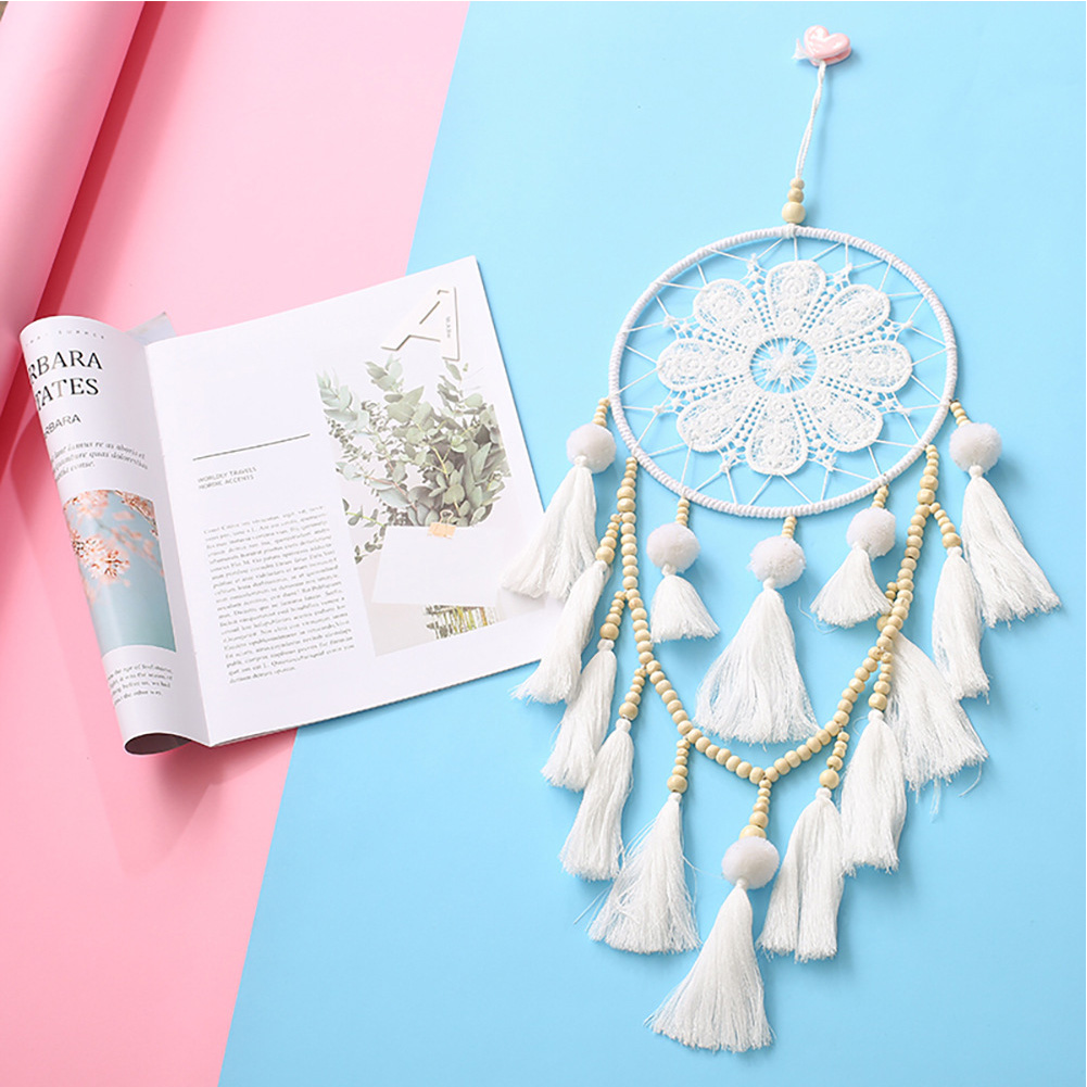 Dream Catcher Simple Wall Hanging Pendant Craft for Home Room Decoration white