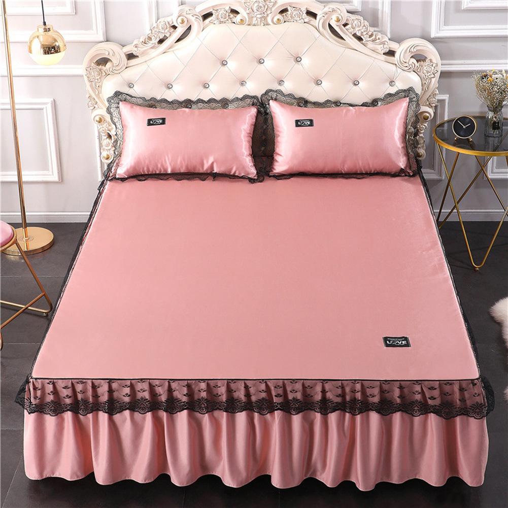 3Pcs/Set Lace Bed Skirt Summer Sleeping Mat+Pillow Case Set for Home Decor Charm Jade