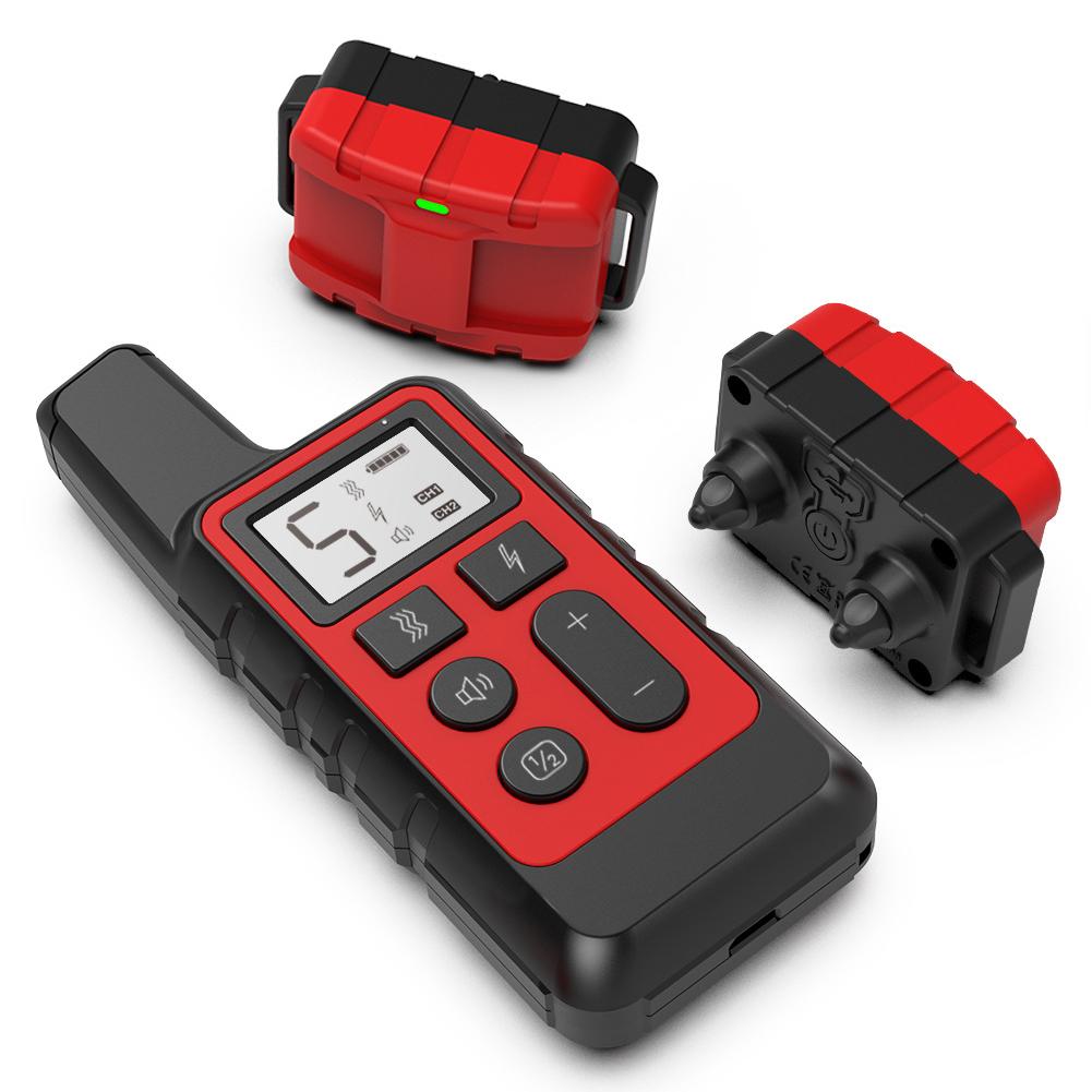 Dog Training Collar Electric Shock Vibration Sound Anti-Bark Remote Electronic Collars Waterproof Pet Supplies red