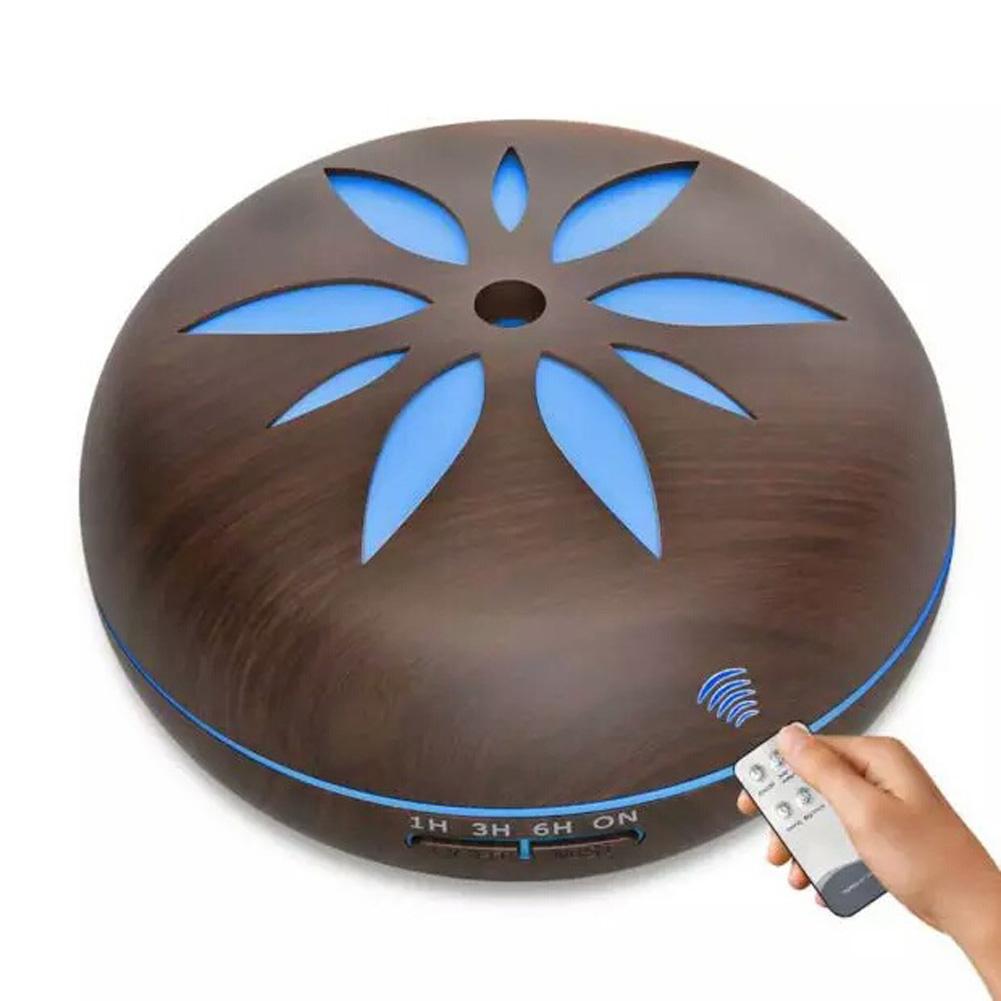 7 colour wood grain humidifier Household Air Humidifier Colorful Lights Air Purifying Mist Maker Deep wood grain + remote control_European regulations