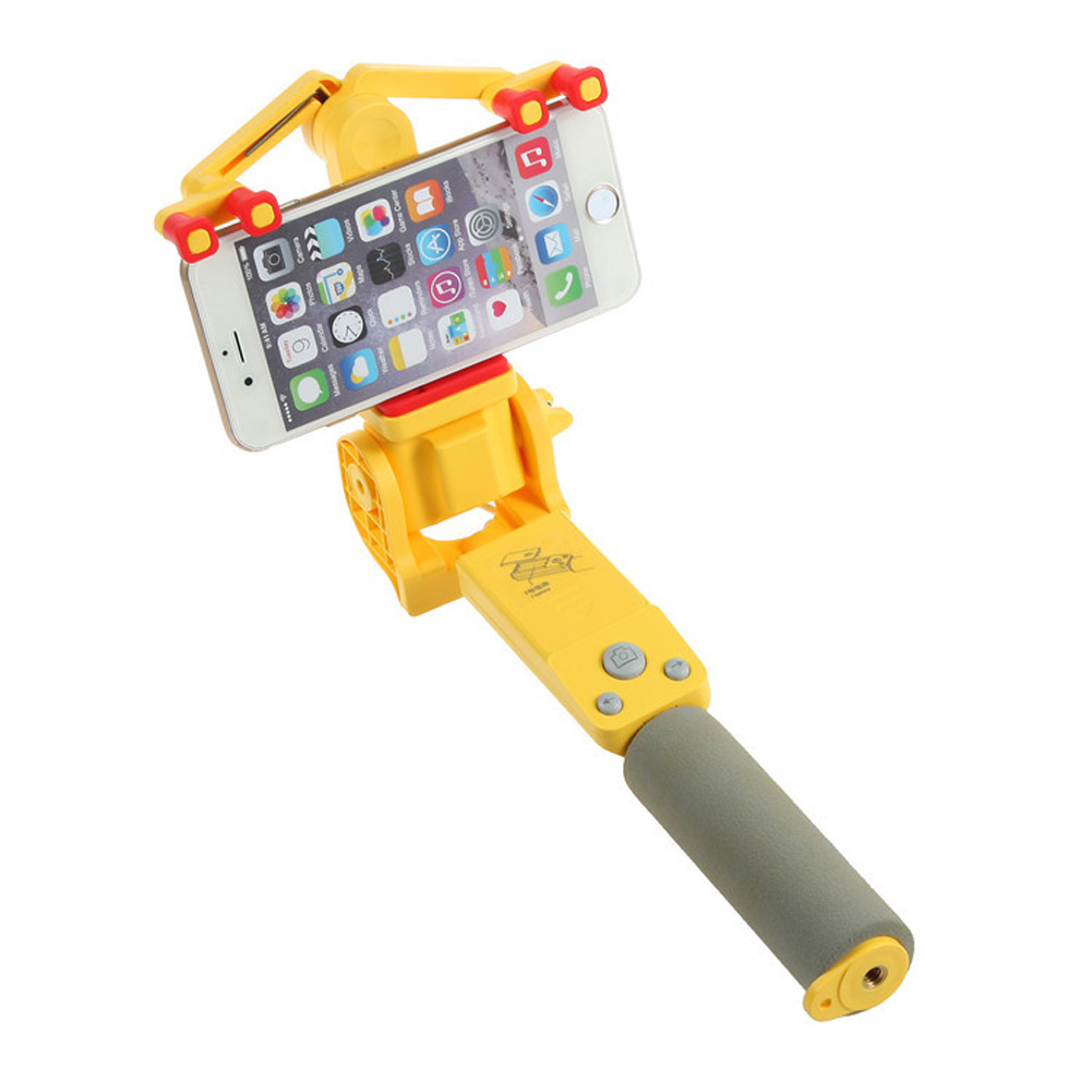 360 Degree Rotating Selfie Stick Mobile Phone Bluetooth Automatic Rotating Stainless Steel + ABS yellow