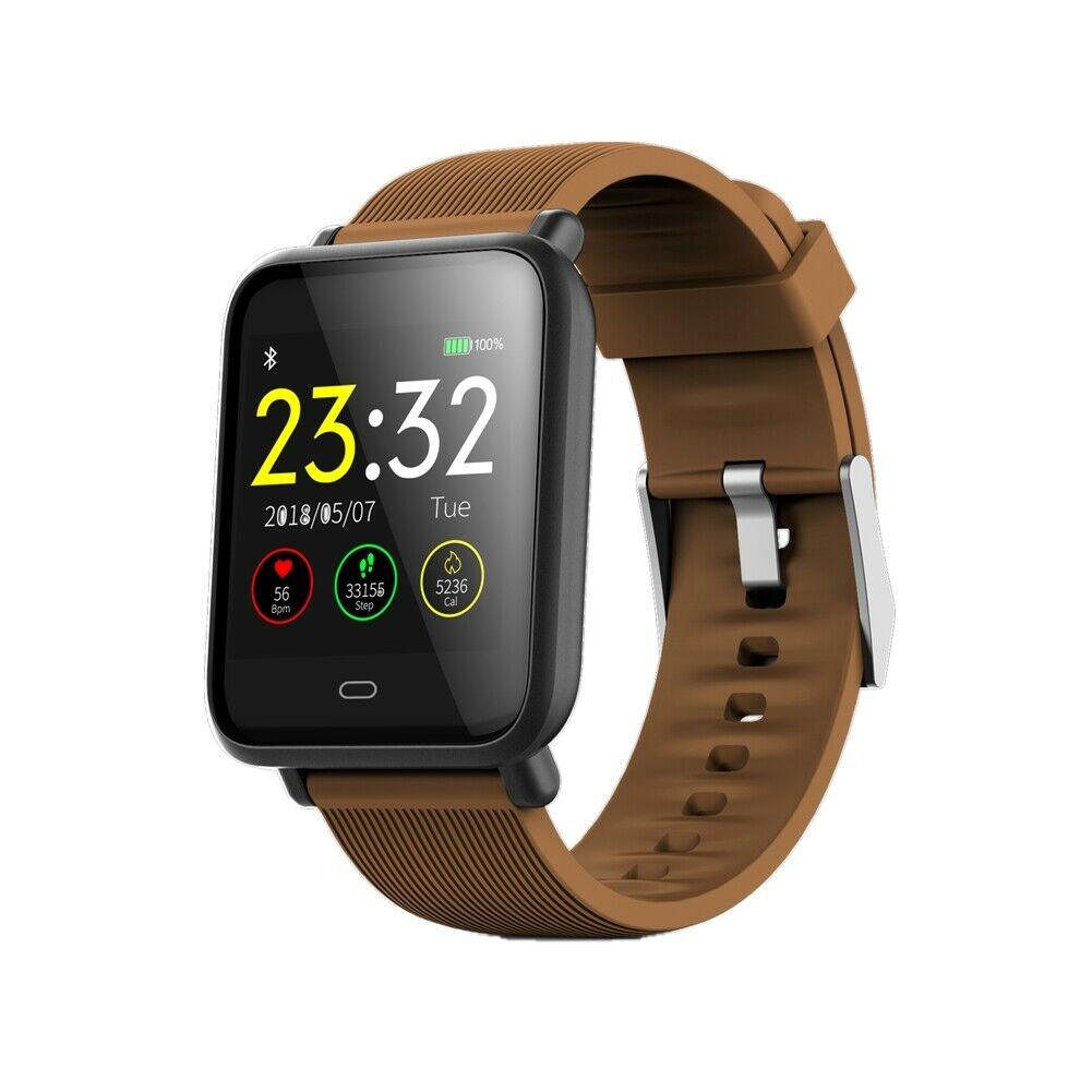 Q9 Smart Watch Blood Pressure Heart Rate Monitor Fitness Waterproof Bracelet Brown