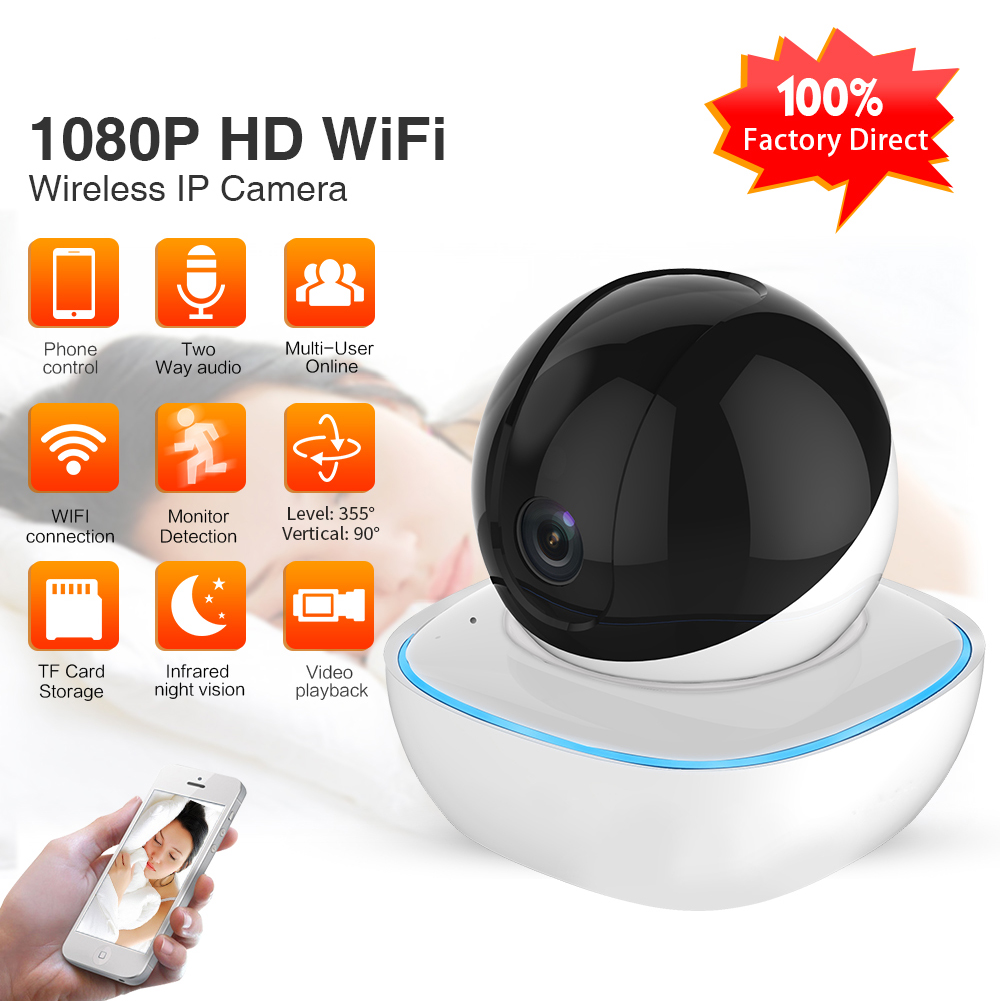 Security Wireless IP Camera 1080P Home Security 2 Way Audio Alarm IR Night Vision P2P Surveillance CCTV Wifi Camera 1080P- 2 million pixels_US Plug