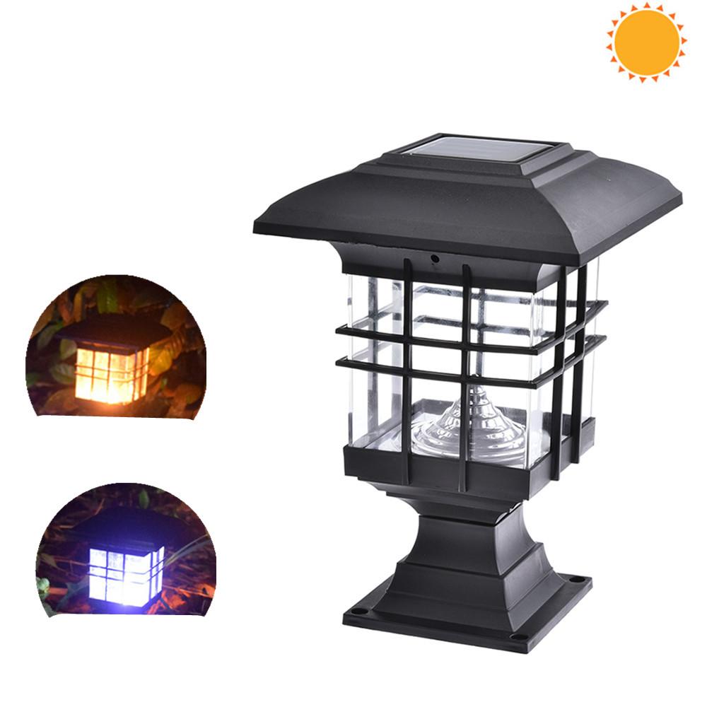 Waterproof House Shape Solar Column Lamp for Garden Landscape Decor Outdoor Lighting  White light