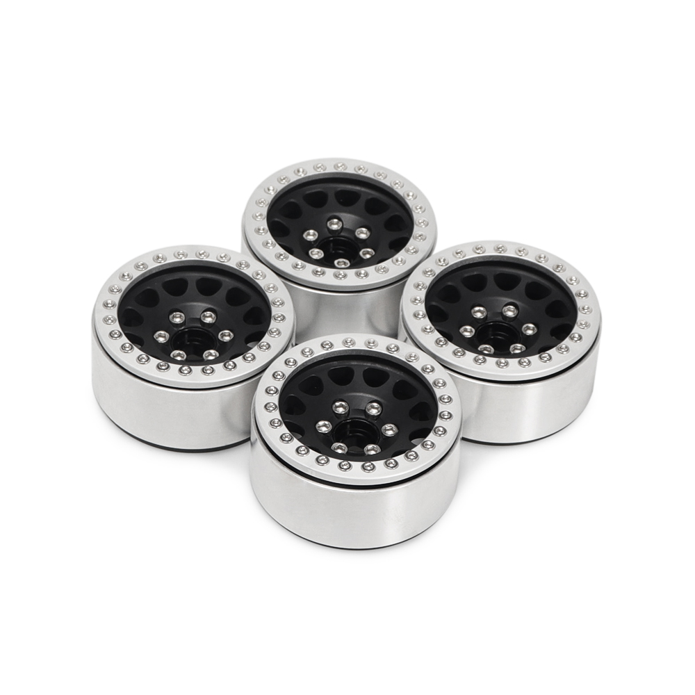 4Pcs Aluminum Alloy 1.9  Wheels Rims for 1/10 RC Crawler Axial SCX10 SCX10 II 90046 Traxxas TRX4 D90 Silver + black