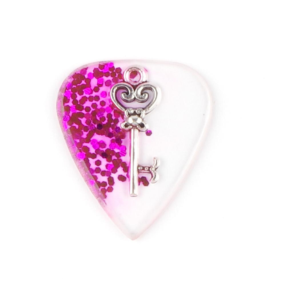 Handmade Guitar Pick Transparent Exquisite DIY Guitar Pick Necklace Thickness 1.5mm Resin Metal 3*2.5*0.15cm Purple key