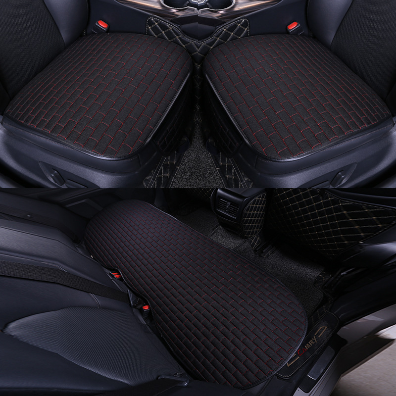 Car Seat Cover set Four Seasons Universal Design Linen Fabric Front Breathable Back Row Protection Cushion Black and red _Small 3-piece suit