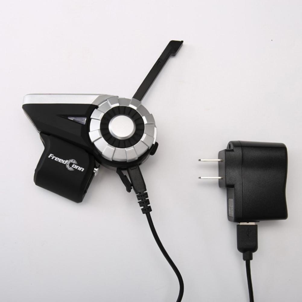 8-Ways Motorcycle Helmet Intercom 1000M Waterproof BT Bluetooth Wireless Interphone T-REX Silver black