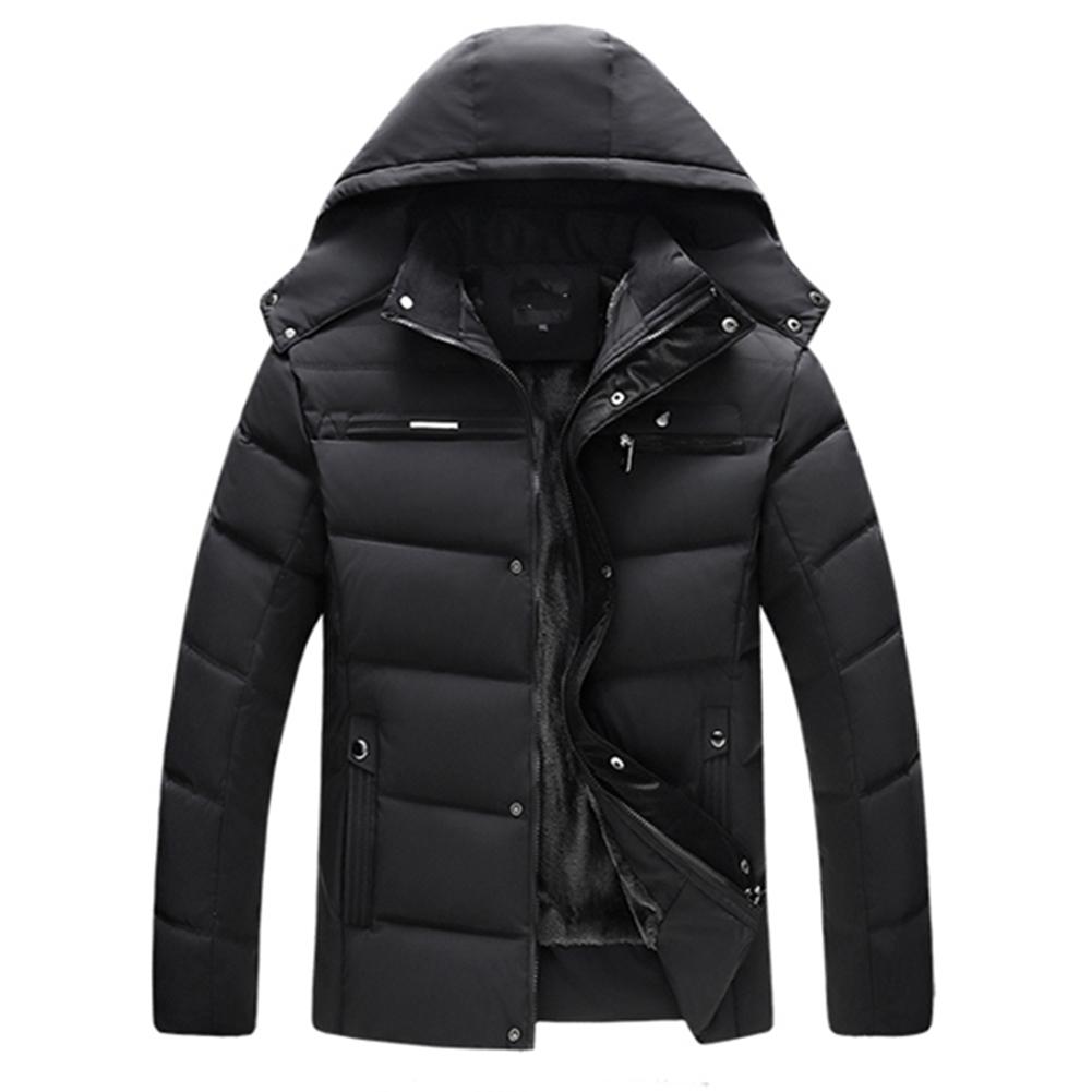 Men's and Women's Cotton Coat Winter Slim-fitting Cotton Jacket Black plus velvet_XL