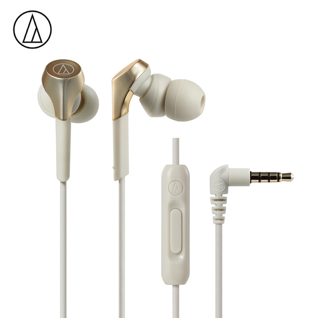 Original Audio-Technica ATH-CKS550XIS Wired Earphone HiFi In-ear Subwoofer Bass HiFi Music Wired Control With Microphone Gold
