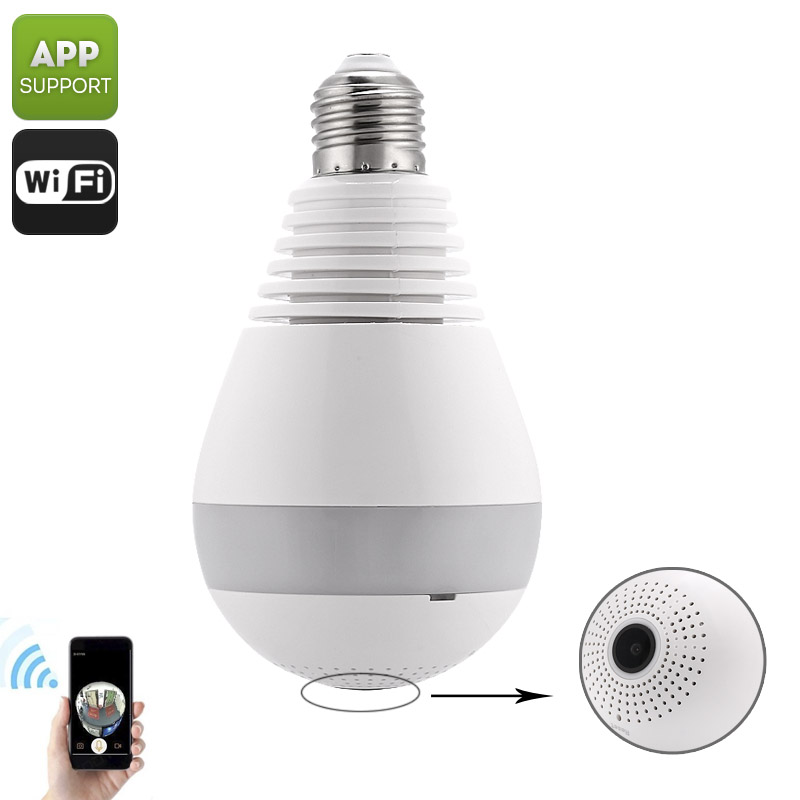 360-Degree IP Camera Light Bulb - HD Video, Motion Detection, App Support, Night Vision, SD Card Recording, IR Cut, E27 Fitting