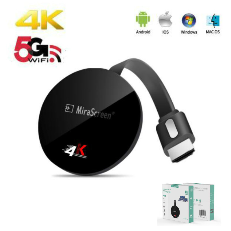 Mirascreen G7 Plus 2.4G 5G 4K Video Dongle Streamer for HD Digital TV Wireless Dongles HDMI WiFi Display Android Dongle 5G