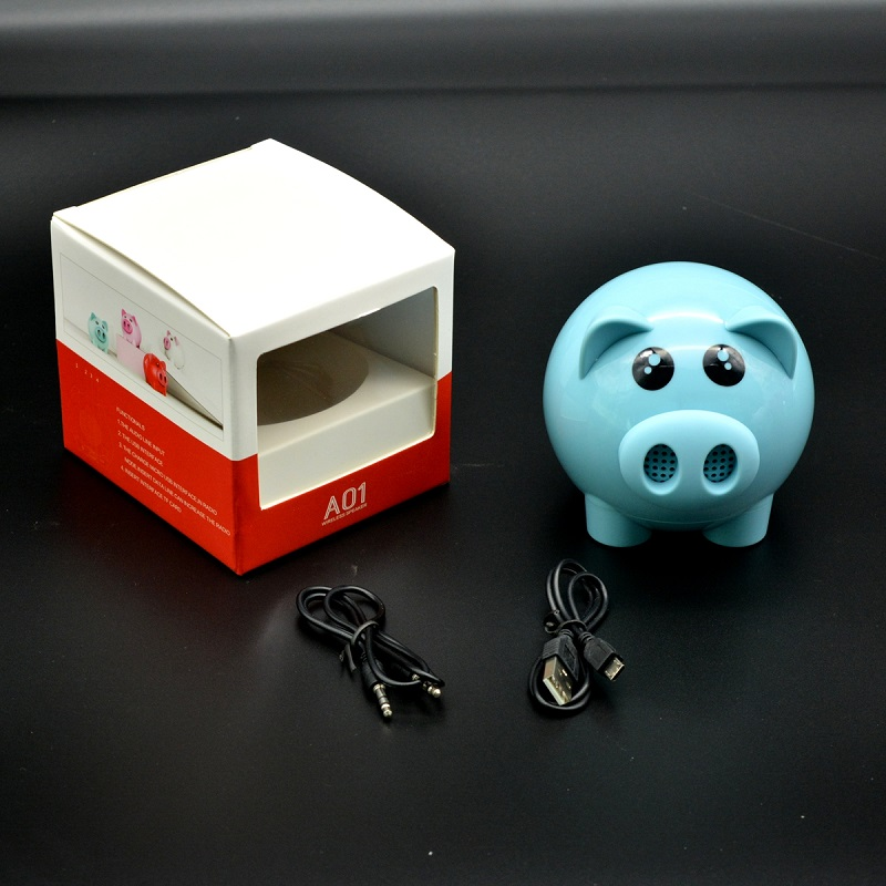 Wireless Cute Pig Bluetooth Speaker - Blue