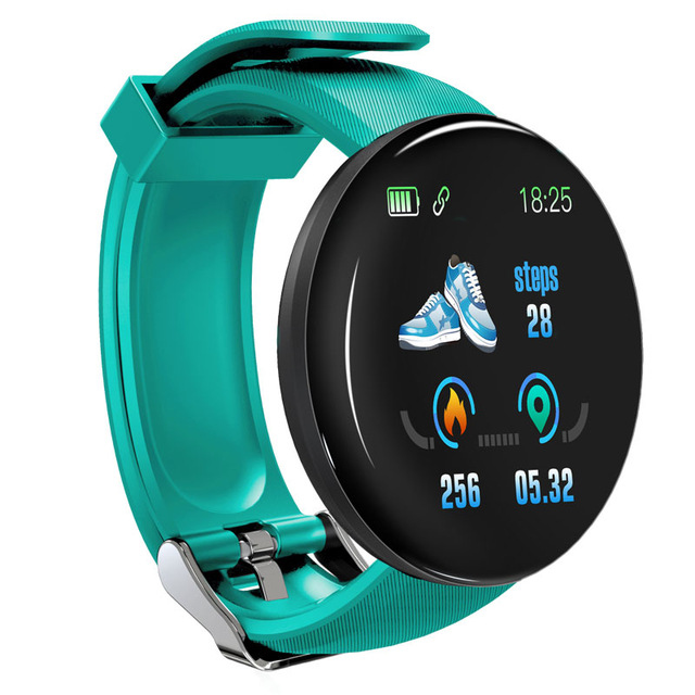 D18 Fitness Watch Smart Bracelet Heart Rate Monitor Blood Pressure Blood Oxygen Measurement Healthy Life Sleep Tracker for iOS Android Phone green