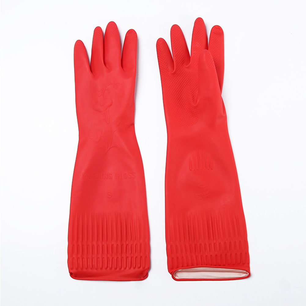 Kitchen Washing Gloves 38cm Long Waterproof Elastic Rubber Glove Dining Room Dish Cleaning Red M