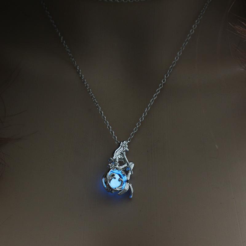 Luminous Alloy Open Cage Mermaid Skull Head Necklace DIY Pendant Halloween Glowing Jewelry Gift NY313-Mermaid
