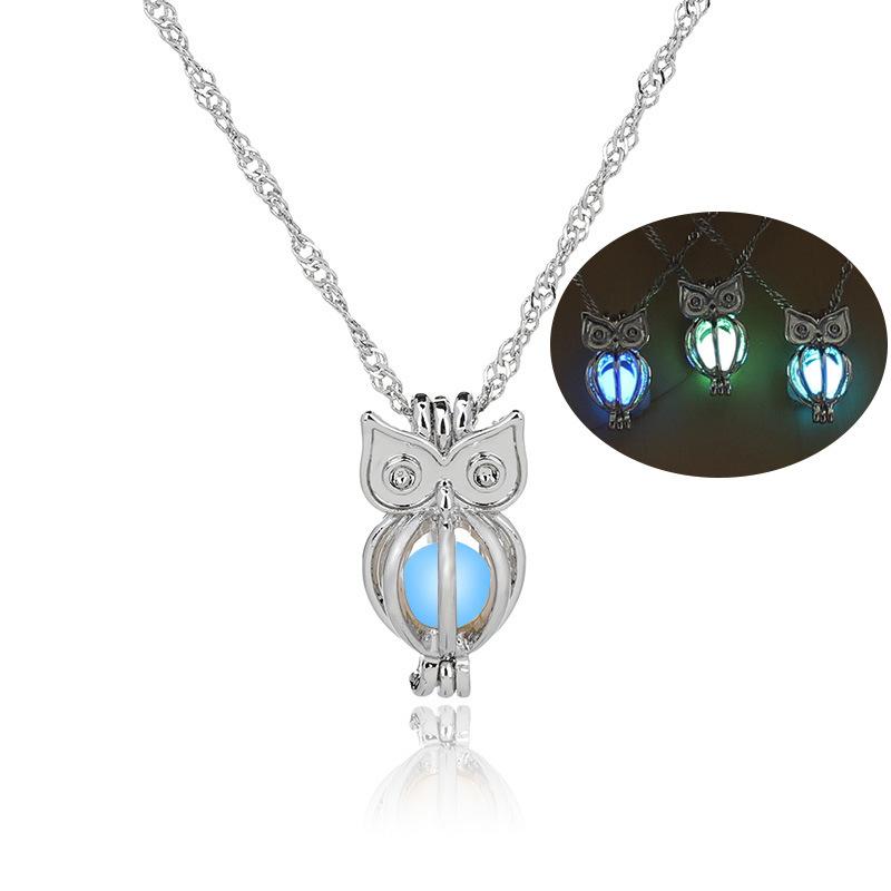 Luminous Alloy Open Cage Mermaid Skull Head Necklace DIY Pendant Halloween Glowing Jewelry Gift NY312-Mermaid