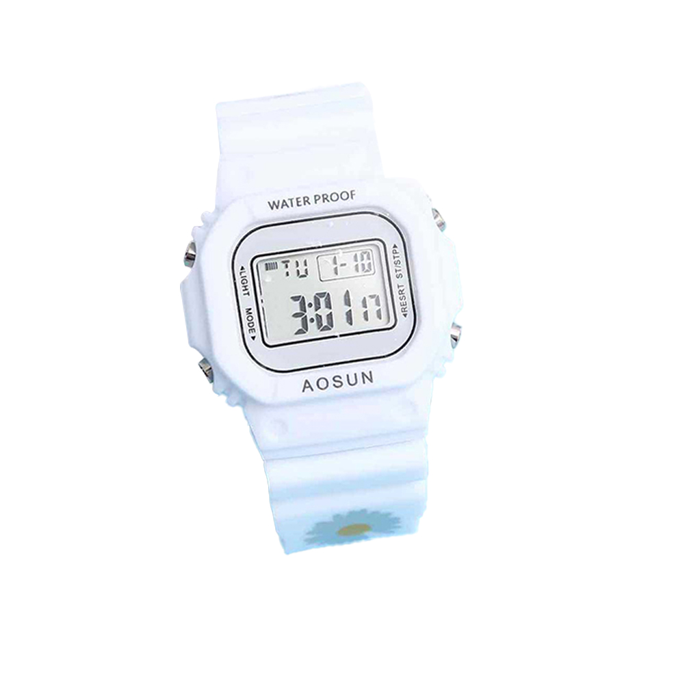 Electronic Watch Small Daisy Luminous Silicone Led Watch Watch white