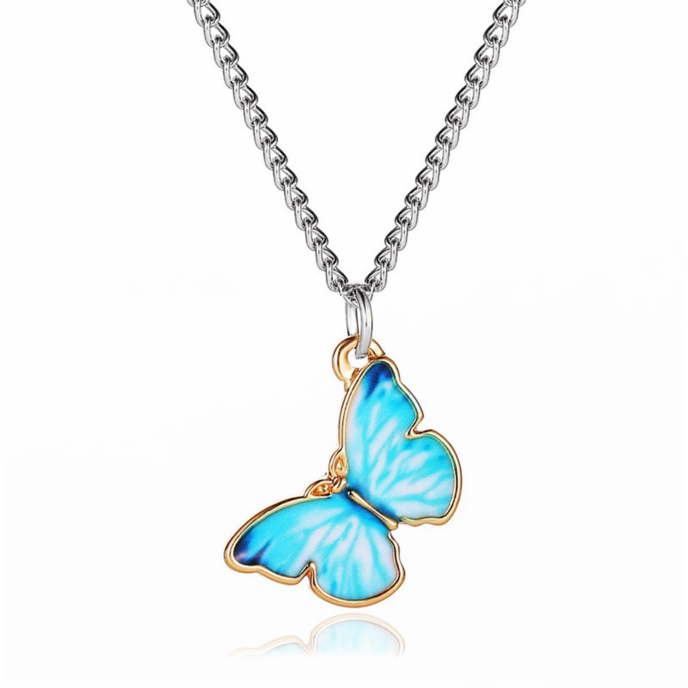Women's Necklace Gradient Butterfly-shape Clavicle Chain Bracelet 02 Lake Blue