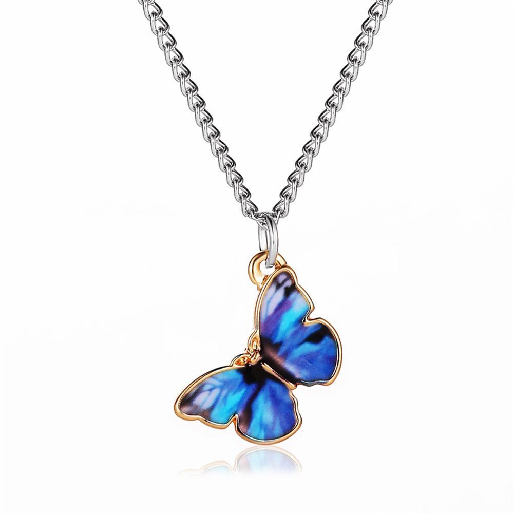 Women's Necklace Gradient Butterfly-shape Clavicle Chain Bracelet 01 dark blue