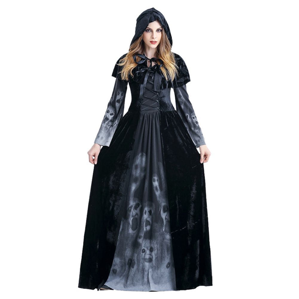 Women Death Dress Horror Skeleton Bloodsucker Cosplay Stage Bar Costume black_XXL