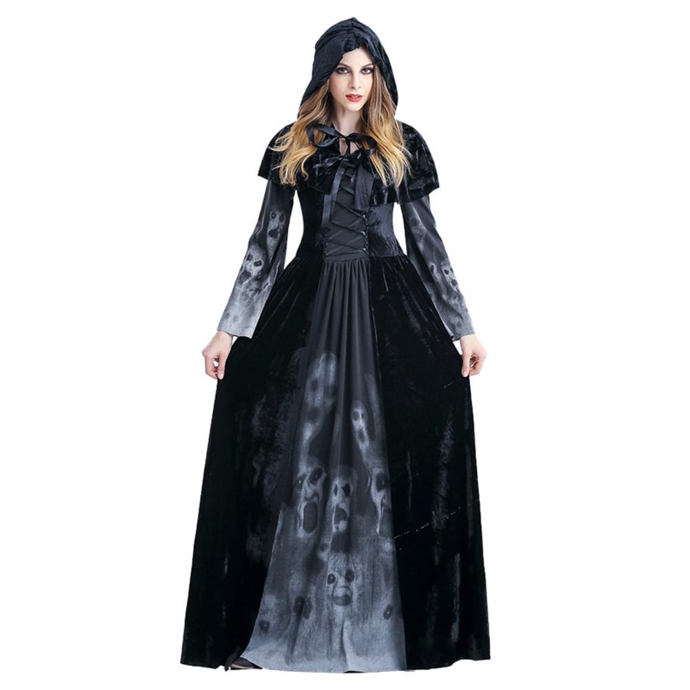 Women Death Dress Horror Skeleton Bloodsucker Cosplay Stage Bar Costume black_L
